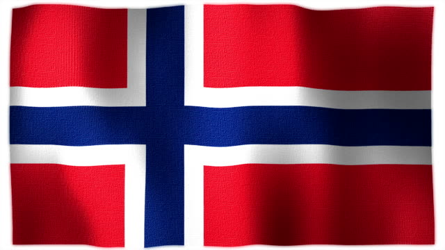 3D Animation of Norway, norwegian Whole Flag Canvas Texture video