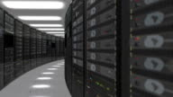 Animation of rack servers in data center video
