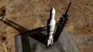 Animation of rocket launch close-up video