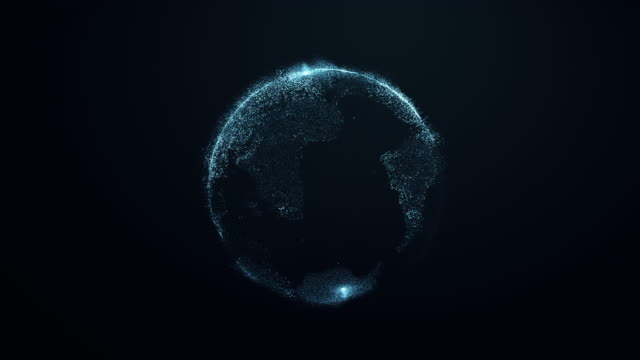 Animation of spinning globe of the Earth planet video