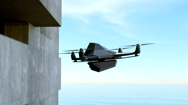Animation of stealth drone scanning target outside of the building video