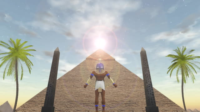 Animation of the egyptian god Horus standing before a pyramid video