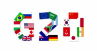 Animation of the G20 nations flags video
