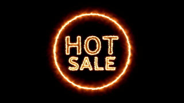animation of the hot sale text with fire effect. video