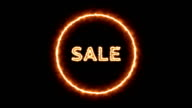 animation of the sale text with fire effect. video
