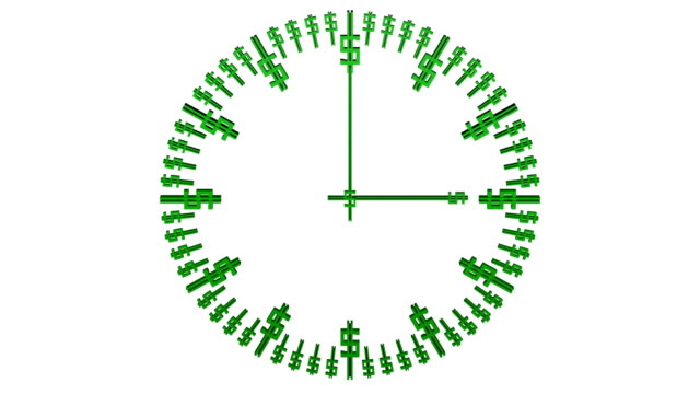 Animation of timelapse of clock face with dollar sign. video
