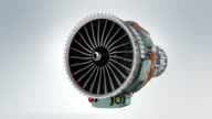 Animation of turbofan jet engine on gray background video