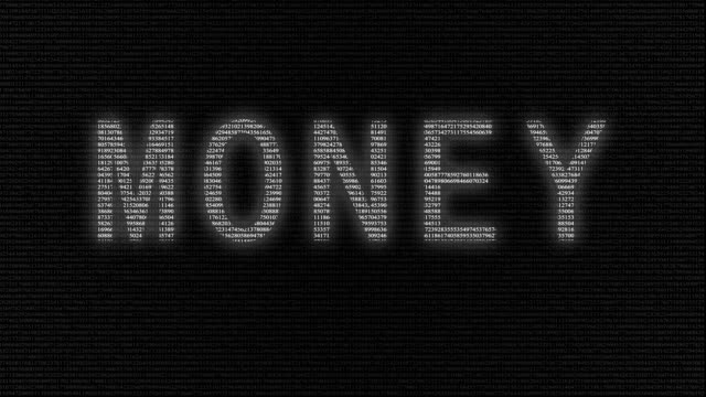 Animation of word money with numbers running video