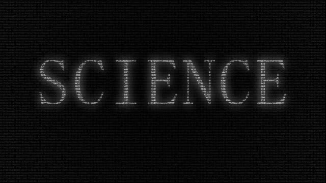 Animation of word science with numbers running video