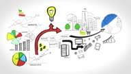 Animation on business growth and development video