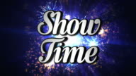 SHOW TIME  Animation Rotation Text and Disco Dance Background, with Alpha Channel, Loop, 4k video