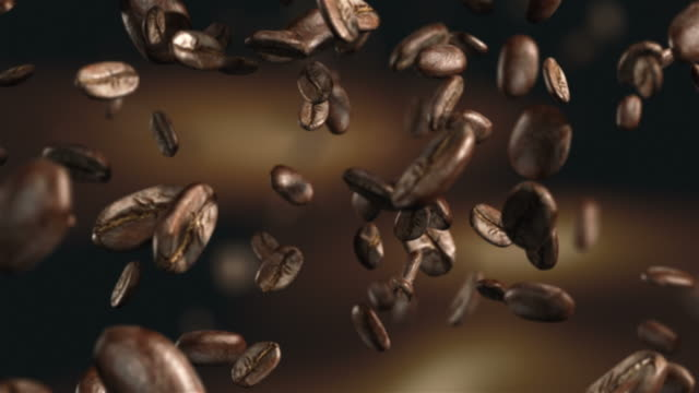 Animation video of falling coffee beans-loopable background in 4K video