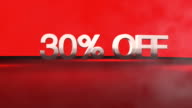 3D animation with 30%OFF phrase in FullHD. video