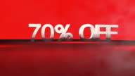 3D animation with 70%OFF phrase in FullHD. video