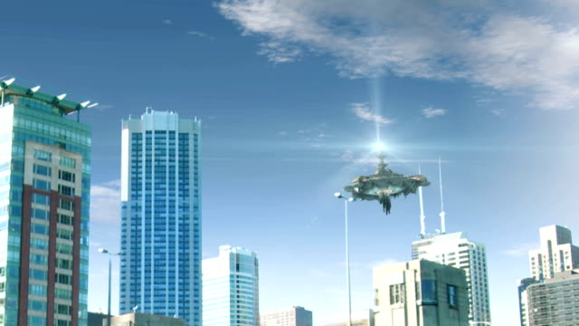 Animation with fake UFO flying in Chicago video