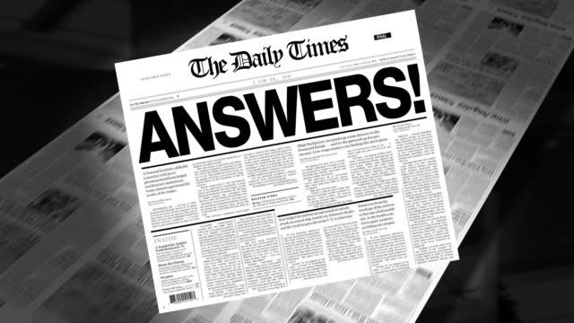Answers! - Newspaper Headline (Reveal + Loops) video