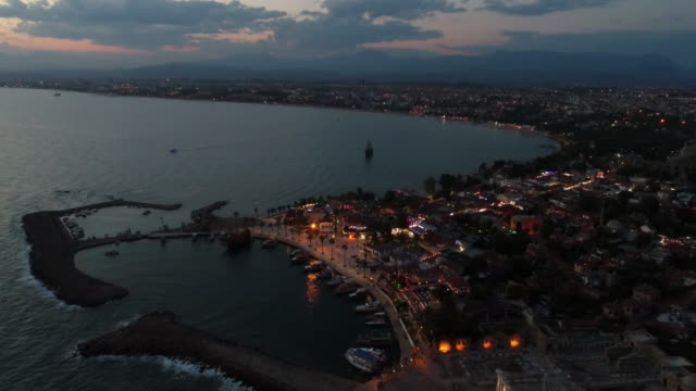 Antalya side antique city in the night video