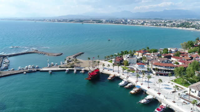 Antalya side antique city marina video