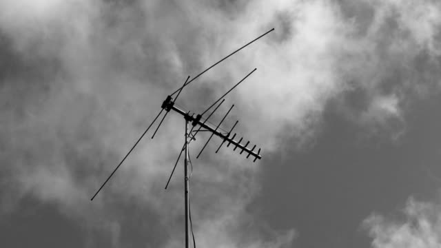 TV antenna. Black and white. 2 shots. video