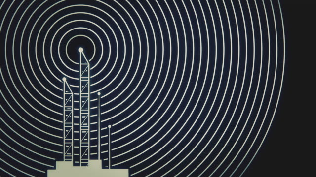Antenna towers with radiowave signal animation video