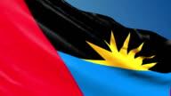Antigua and Barbuda flag waving. 3d render seamless loop video