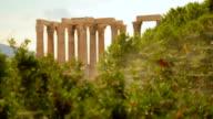 Antique architecture monument, columns of Olympian Zeus Temple seen at distance video