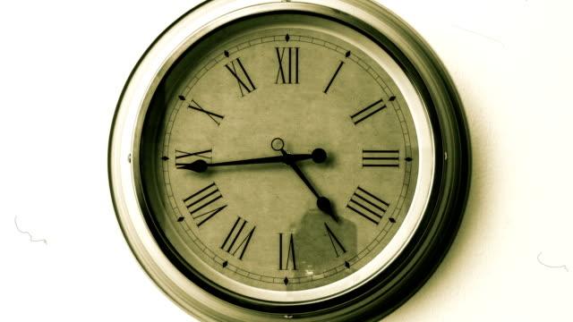 Antique clock face. Timelapse video
