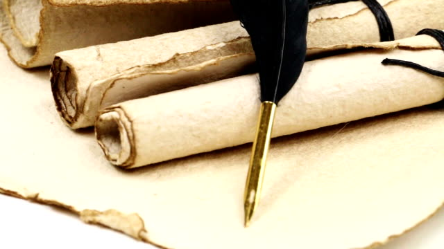 Antique paper scroll with quill video