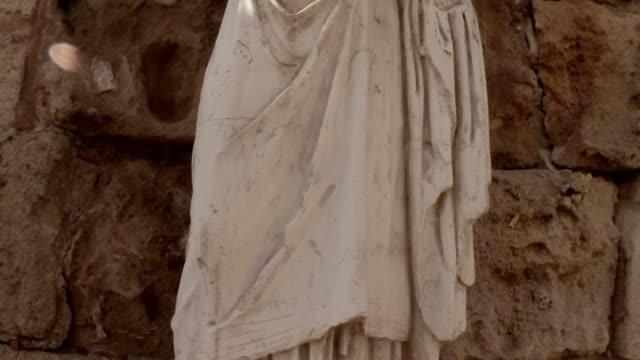 Antique white headless statue panorama ancient town Salamis east Cyprus Famagusta video