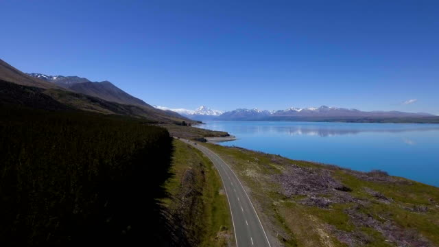 Aoraki Mt Cook - Aerial view by drone flying over Lake Pukaki video