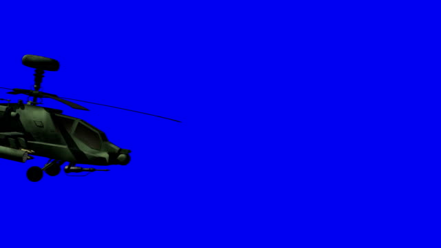 Apache helicopter passing by bluescreen video