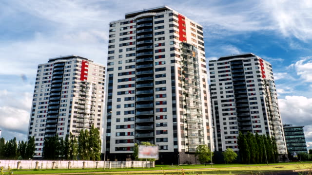 Apartment buildings. Multistoried modern and stylish living block of flats. video