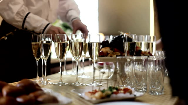 Aperitif champagne for business meeting conference video