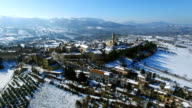 Apiro in the Snow - HD Drone Aerial Video Approach Shot video