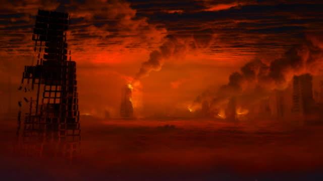 Apocalyptic landscape. Camera slowly moves forward. video