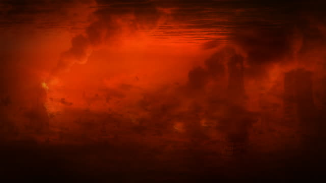 Apocalyptic landscape - fire storm or blastwave. video