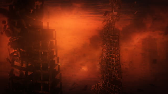 Apocalyptic landscape, hell or armageddon with burning city. video
