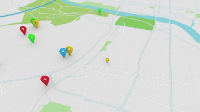 App style map with pinpoints, 4K video