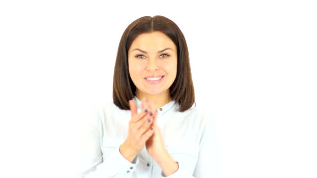 Applauding Woman,Clapping on White Background video