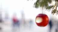 Apple on christmas tree in Krakow video