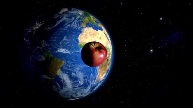 Apple orbiting the Earth video