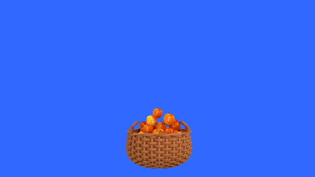 Apples drop in to a basket on blue background. video