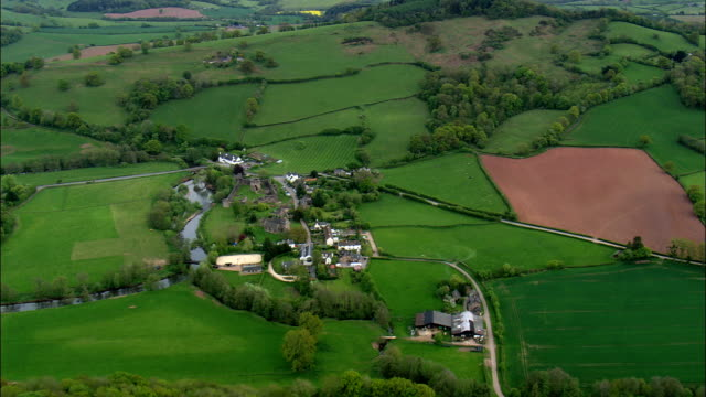 approach to skenfrith castle - Aerial View - Wales,  Monmouthshire,  United Kingdom video