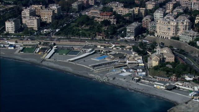 Approaching Genoa Up the Coast  - Aerial View - Liguria, Provincia di Genova, Genoa, Italy video