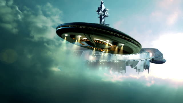 UFO approaching gigantic mother-ship in the clouds video