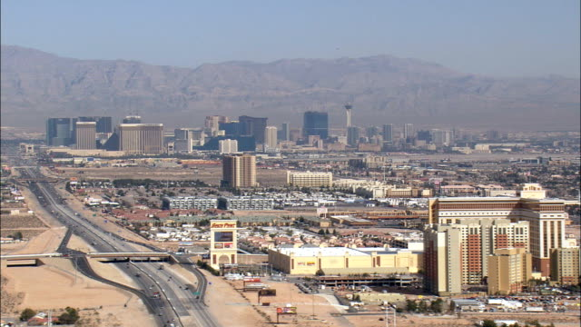 Approaching Las Vegas  - Aerial View - Nevada,  Clark County,  United States video