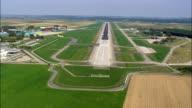 Approaching Memmingen Airport Runway  - Aerial View - Bavaria,  Swabia,  Landkreis Unterallgäu,  Germany video