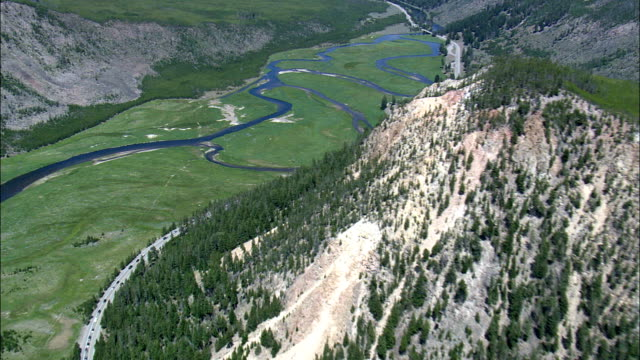 Approaching West Entrance And State Border With Montana  - Aerial View - Wyoming,  Teton County,  helicopter filming,  aerial video,  cineflex,  establishing shot,  United States video