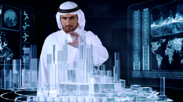 Arab in traditional clothing working with virtual reality. Urban architecture designing video