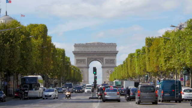 Arc de Triomphe and Champs Elysees traffic pan video